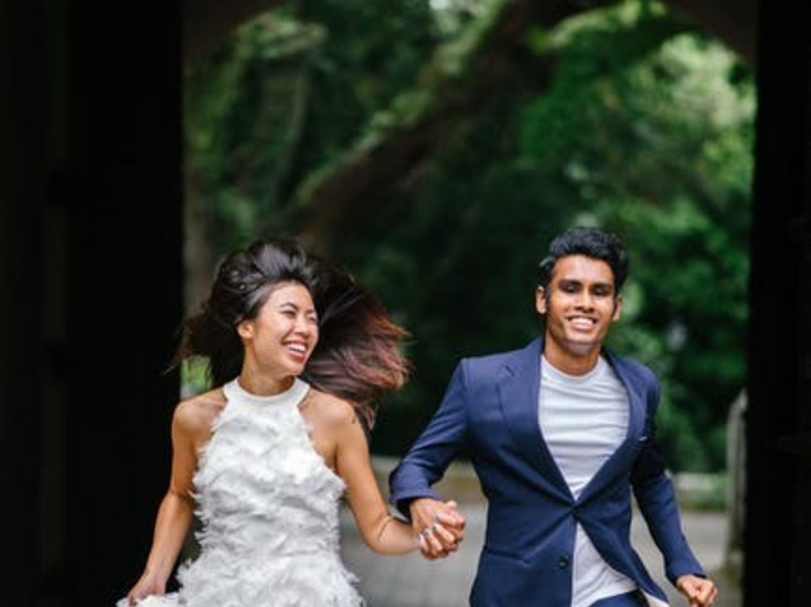 Bride and Groom Running - Wedding Traditions