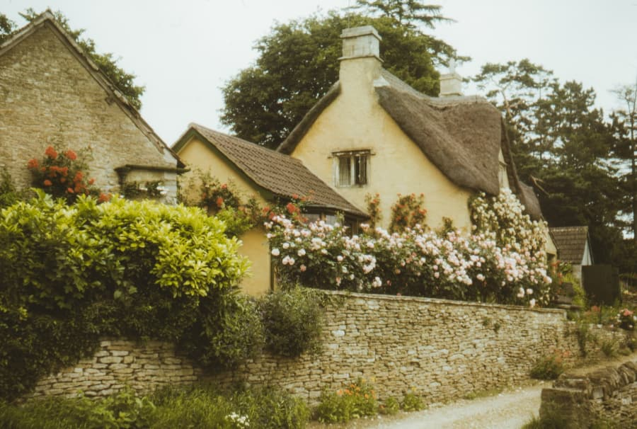 Cottagecore cottage houses with flowers
