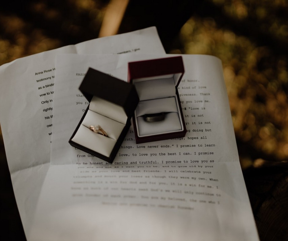 Wedding Rings at Venue in Portage Indiana